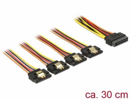 Kabel SATA 15 Pin Strom Stecker mit Einrastfunktion an SATA 15 Pin Strom Buchse 4 x gerade 0, 3 m, Delock® [60157]