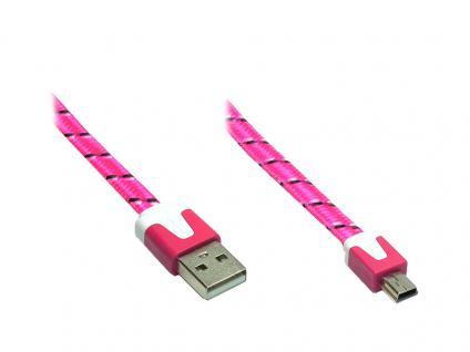 Anschlusskabel USB 2.0 Stecker A an Stecker Mini B 5-pin, Flachkabel, Textil, pink, 2m, Good Connections®