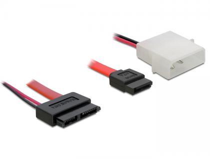 Kabel Slim SATA Buchse an SATA 7 Pin + 2 Pin Strom Stecker 30 cm, Delock® [84390]