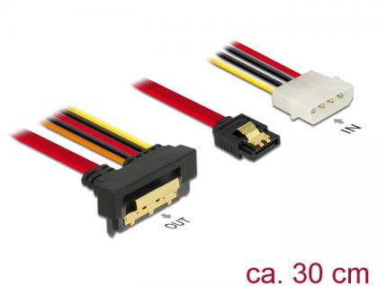 Kabel SATA 6 Gb/s 7 Pin Buchse + Molex 4 Pin Strom Stecker an SATA 22 Pin Buchse unten gewinkelt Metall, 0, 3m, Delock® [85231]