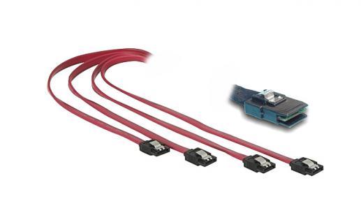 kabelmeister® MINI SAS auf 4 x S-ATA Kabel, 0, 75m