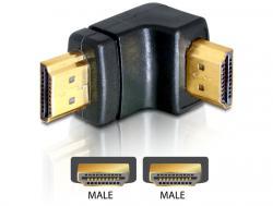 Adapter, HDMI Stecker an HDMI Stecker, 90____deg; gewinkelt, unten, Delock® [65073]