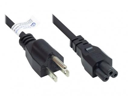 Netzkabel Amerika/USA Netz-Stecker Typ B (NEMA 5-15P) an C5 (gerade) für Notebook, ETL, schwarz, AWG18, 1, 8 m, Good Connections®