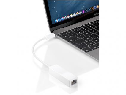 Adapterkabel USB 3.1 Stecker C an RJ45 Buchse (8P2C), weiß