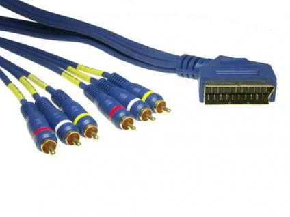 Anschlusskabel Scart Stecker an 6x Cinch Stecker, High Quality, 2m, Good Connections®