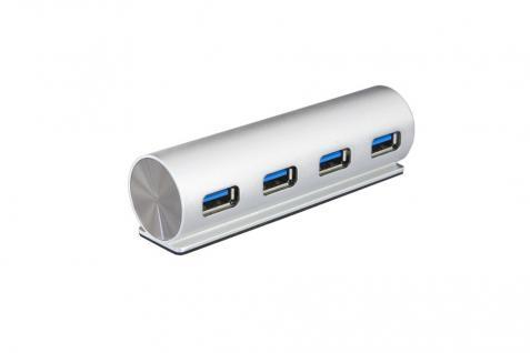 USB 3.0 HUB 4-Port, 4x Buchse A, USB 3.0 Kabel mit C-Stecker, inkl. Adapter A-Stecker auf C-Buchse, Metallgehäuse, Exsys® [EX-1134]