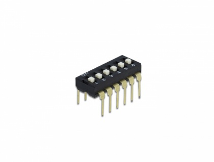 DIP-Schiebeschalter 6-stellig 2, 54 mm Rastermaß THT vertikal schwarz 10 Stück, Delock® [66112]
