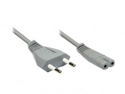 kabelmeister® Euro-Netzkabel, Netzstecker an Euro 8 Buchse, grau, 1, 5m