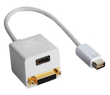 kabelmeister® Adapter Mini DVI Stecker an HDMI Buchse + DVI Buchse, 0, 2m, weiß - Vorschau