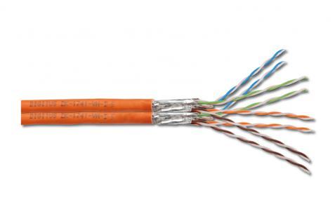 Verlegekabel, Cat. 7, S/FTP, PiMF, halogenfrei, DUPLEX, orange, 500m Rolle