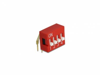 DIP-Schiebeschalter 4-stellig 2, 54 mm Rastermaß THT gewinkelt rot 10 Stück, Delock® [66154]