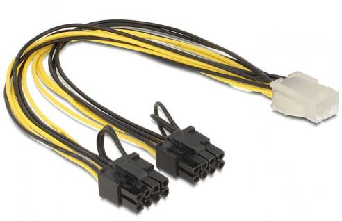 Stromkabel für PCI Express Karten 6 Pin Buchse an 2 x 8 Pin Stecker 30cm, Delock® [83433]