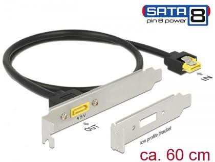 Slotblech SATA 6 Gb/s Buchse intern an SATA Stecker Pin 8 Power extern 60 cm , Delock® [84950]