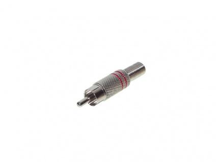 Cinch Stecker, Metall, für 6mm Kabel, rot