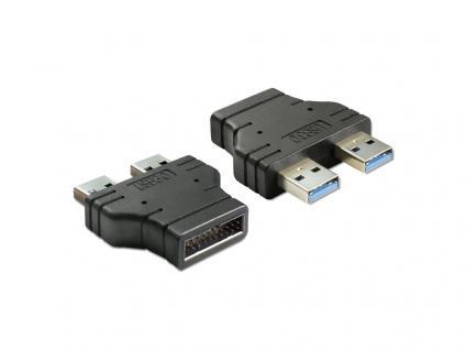 Adapter USB 3.0 Pin Header Stecker an 2 x USB 3.0-A Stecker - nebeneinander, Delock® [65398]