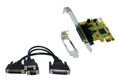 Schnittstellenkarte, 2S / 1P PCI-Express Multi I/O-Karte, Oktopuskabel, Exsys® [EX-44343]