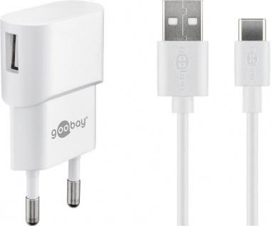 USB-Ladegerät, 1 Port, 1A, inkl. Type-C™ Kabel an USB A Stecker, weiß , 1m