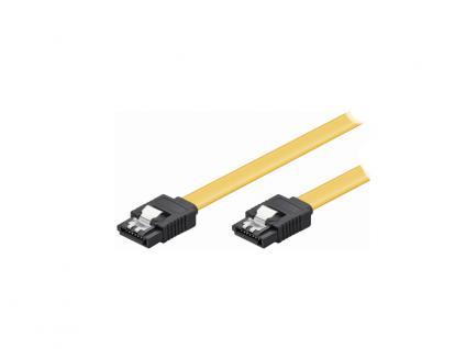 kabelmeister® Anschlusskabel S-ATA 6 Gb/s, mit Arretierung, gerade, 0, 1m, gelb