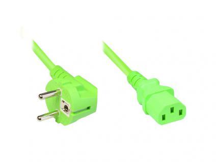 Netzkabel Schutzkontakt-Stecker an Kaltgeräte-Buchse, Typ F an C13, 3m, grün, Good Connections®