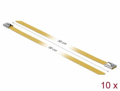 Edelstahlkabelbinder L 500 x B 7, 9 mm gelb 10 Stück, Delock® [18792]