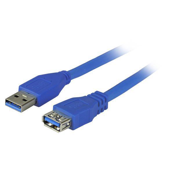 Verlängerungskabel USB 3.0 Stecker A an Buchse A, 1, 8m, blau, Premium, Good Connections®