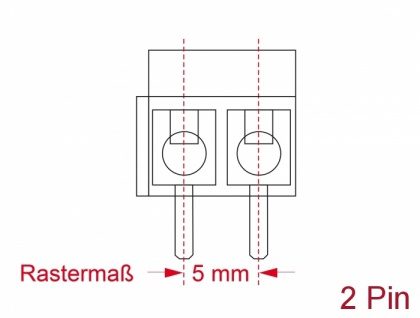 Terminalblock für, Platine, Lötversion, 2-Pin, 5, 00mm, Rastermaß vertikal, 10 Stück, Delock® [65998]
