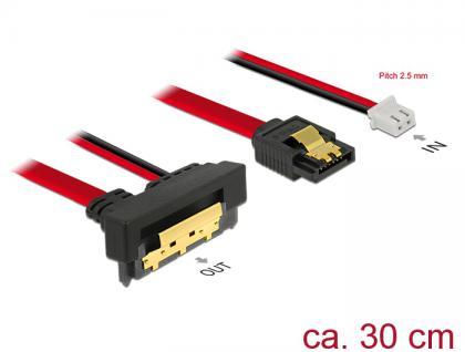 Kabel SATA 6 Gb/s 7 Pin Buchse + 2 Pin Strom Buchse an SATA 22 Pin Buchse unten gewinkelt (5V), Metall, 0, 3m, Delock® [85243]