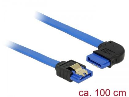 Kabel SATA 6 Gb/s Buchse gerade an SATA Buchse rechts gewinkelt, mit Goldclips, blau, 1m, Delock® [84993]