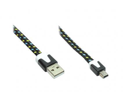 Anschlusskabel USB 2.0 Stecker A an Stecker Mini B 5-pin, Flachkabel, Textil, schwarz, 2m, Good Connections®