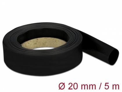 Schrumpfschlauch 5 m x 20 mm schwarz, Delock® [18942]