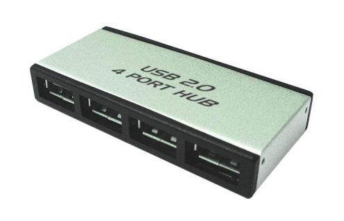 USB 2.0 ALUMINIUM MINI Hub, 4-fach, aktiv mit Netzteil