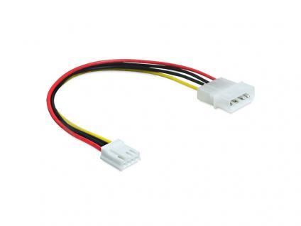Anschlusskabel Power Molex 4 Pin Stecker an Floppy 4 Pin, 0, 22m, Delock® [83184]