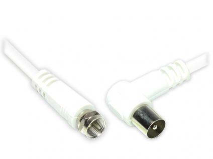 Antennenkabel, F-Stecker gerade an Koax/IEC Stecker gewinkelt (vernickelt), 2x geschirmt (class A, >85dB / 75 Ohm), CCS, weiß, 5m, Good Connections®
