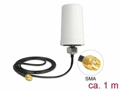 LTE Antenne SMA Stecker 1, 7 - 2, 0 dBi ULA100 1 m omnidirektional starr outdoor weiß, Delock® [12545]