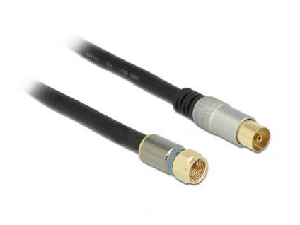 Antennenkabel, F-Stecker an IEC-Buchse RG-6/U, Vierfachschirmung, Premium, schwarz, 1m, Delock® [88954]