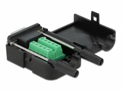 Adapter Sub-D 9 Pin Buchse an Terminalblock 10 Pin mit Gehäuse, Delock® [66257]