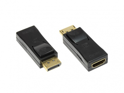 Adapter Displayport 1.2 Stecker an HDMI Buchse, 4K / UHD @30Hz, vergoldete Kontakte, schwarz, Good Connections®