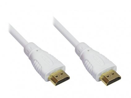 Anschlusskabel High-Speed-HDMI®-Kabel mit Ethernet, vergoldete Stecker, weiß,...