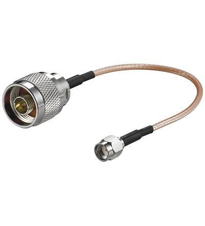 Antennenadapterkabel für WLAN-Router SMA Reverse Buchse an N-Stecker, 0, 15m, Good Connections®