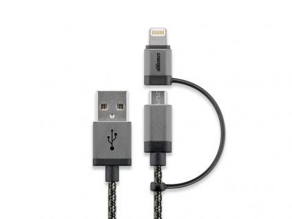 Ladekabel, 2in1 Sync/Ladekabel für Geräte mit Apple Lightning Connector und Micro USB, schwarz/silber, 1m