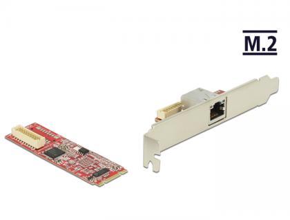 M.2 Adapter M.2 an 1 x RJ45 Gigabit LAN Port -40____deg; C ~ 85____deg; C (PCIe), Delock® [62752]