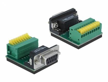 Adapter Sub-D 9 Pin Buchse an Terminalblock 9 Pin mit Drucktaster, Delock® [66322]
