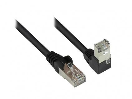 Patchkabel, Cat. 6, S/FTP, PiMF, 250MHz, einseitig 90____deg; nach unten gewinkelt, schwarz, 0, 5m, Good Connections