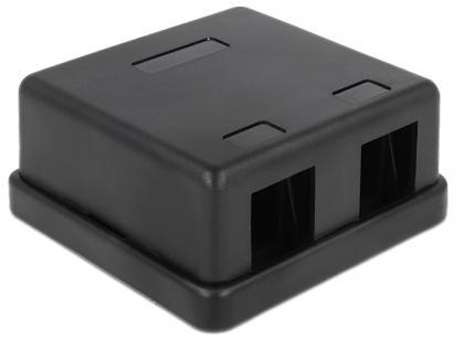 Keystone Leergehäuse 2 Port schwarz, Delock® [86257]