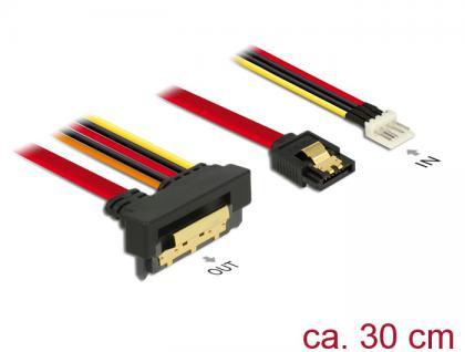 Kabel SATA 6 Gb/s 7 Pin Buchse + Floppy 4 Pin Strom Stecker an SATA 22 Pin Buchse unten gewinkelt Metall, 0, 3m, Delock® [85233]