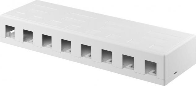 KeyStone Leergehäuse 8-port, Snap-In Montage, weiß