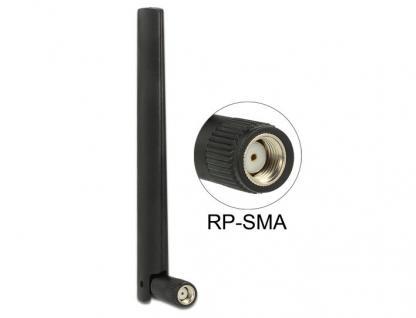 Antenne ZigBee Multi Bluetooth, GSM, LTE, UMTS, WLAN IEE 802.11 b/g/n RP-SMA 1 ca. 4, 3 dBi omni Gelenk schwarz, Delock® [88969]
