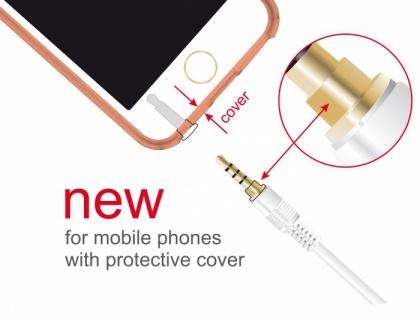 Klinkenkabel 3, 5 mm 4 Pin Stecker an Stecker, weiß, 0, 5m, Delock® [85594]