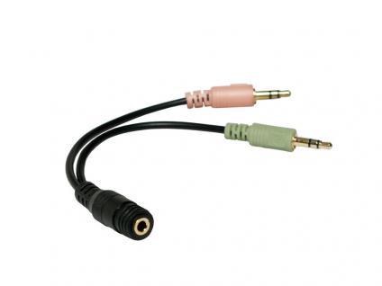 Audio Adapter 3, 5mm Klinke Buchse an 2x 3, 5mm Stecker, schwarz, 0, 15m, LogiLink® [CA0020]