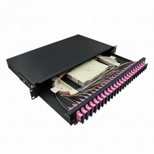 19' Komplett bestückte Spleißboxen SC-DX 24 Port, Multi Mode OM4, 1HE, hellgrau, LogiLink® [F24SD4G]